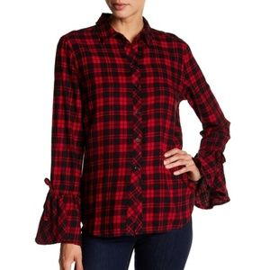 beachlunchlounge Flannel Bell Sleeve Top S